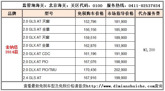 北京现代2014款索纳塔留学生免税车价格已发布